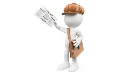 33383684 – 3d white people. latest news concept. child distributing newspapers. paperboy. isolated white background.